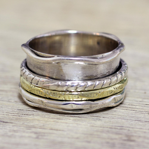 Handcrafted Sterling Silver and Brass Indian Spinner Ring 'Spinning Grace'