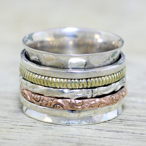 Sterling Silver Copper and Brass Textured Spinner Ring 'Five Senses'