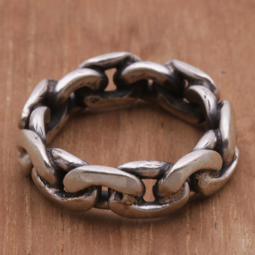 Sterling Silver Unisex Chain Motif Band Ring from Indonesia 'Family Links'