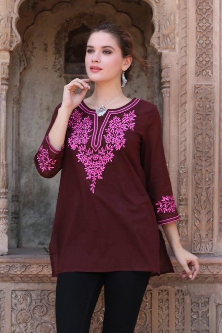 Brown Cotton Tunic Top with Pink Floral Embroidery 'Flower Chase'