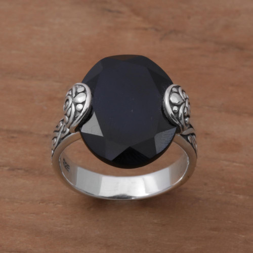 Oval Onyx and Sterling Silver Cocktail Ring from Bali 'Mysterious Oval'