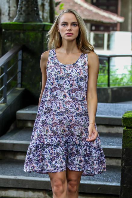 Handmade Sleeveless Rayon Dress with Paisley Pattern 'Pretty in Paisley'