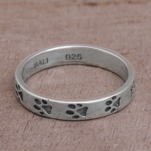 Sterling Silver Paw Print Motif Band Ring from Bali 'Paw Prints'