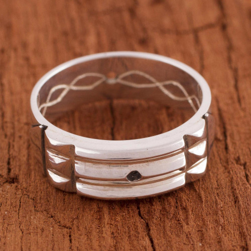 Artisan Crafted Sterling Silver Atlantis Band Ring from Peru 'Atlantis Power'