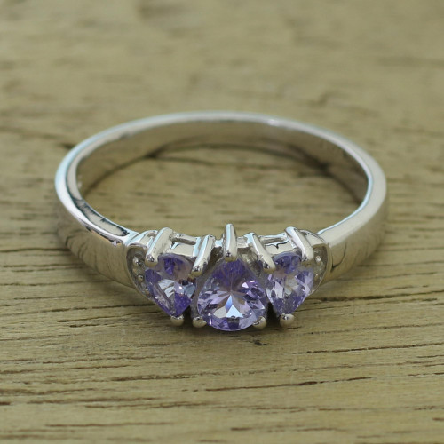 Rhodium Plated Purple Tanzanite Multi Stone Ring from India 'Simple Enchantment'