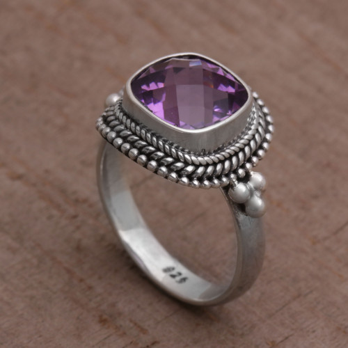 Amethyst and Sterling Silver Ring Cocktail Ring from Bali 'Purple Elegance'
