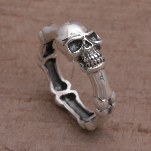 Handcrafted 925 Sterling Silver Skull Ring from Bali 'Skull Champion'