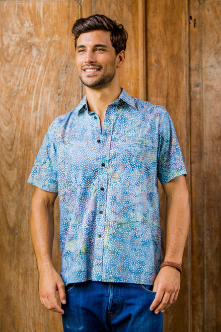 Men's Short Sleeved Button Up Shirt from Indonesia 'Pebble Road'