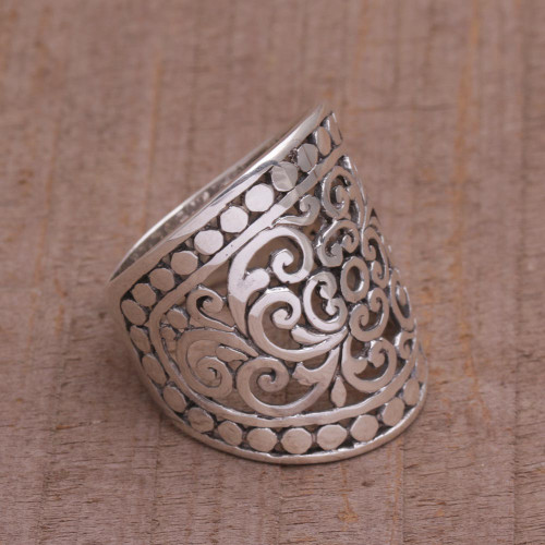 Handmade Sterling Silver Wide Band Ring from Indonesia 'Memory of Bali'