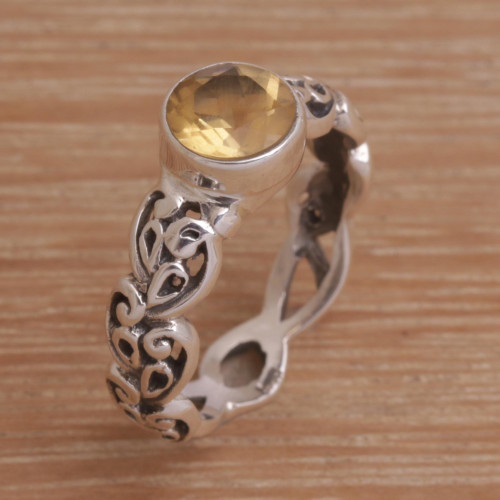 Citrine and Sterling Silver Single-Stone Ring from Bali 'Temple Creeper'