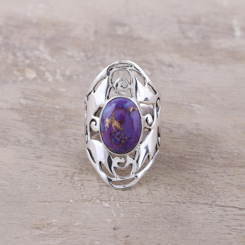 Wide Sterling Silver Jali Ring with Purple Turquoise 'Refined Purple'