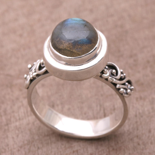Labradorite and Sterling Silver Cocktail Ring from Bali 'Magnificent Forest'