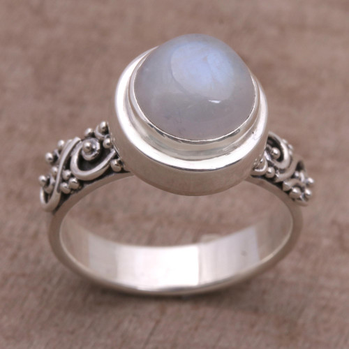 Rainbow Moonstone and Sterling Silver Ring from Bali 'Translucent Forest'