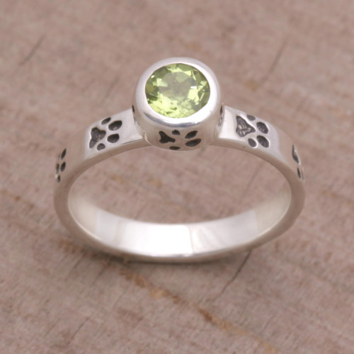 Peridot and Sterling Silver Single Stone Ring from Bali 'Paws for Celebration'
