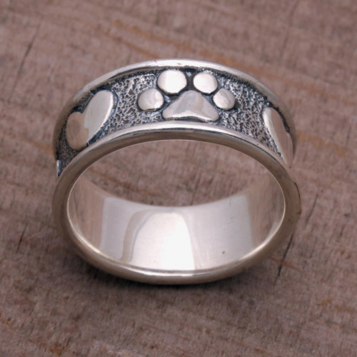Sterling Silver Paw Heart Band Ring from Bali 'Loving Paws'