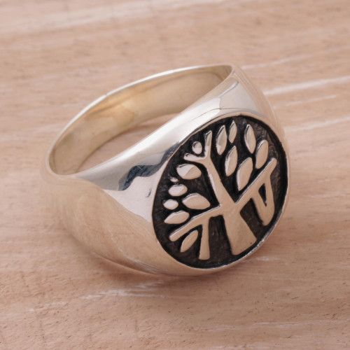 Handcrafted Sterling Silver Signet Ring with Tree Motif 'Beringin Magic'