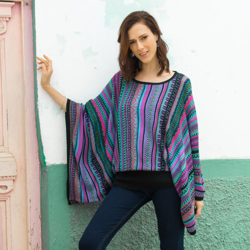 Knit Multicolor Striped Pullover Sweater from Peru 'Butterfly Dance'