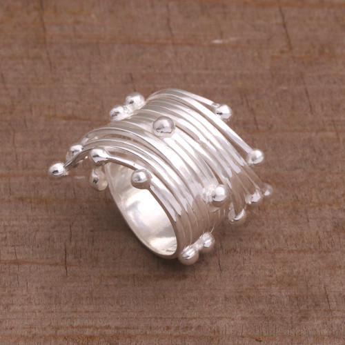 Sterling Silver Cocktail Band Ring from Bali 'Raining Bubbles'