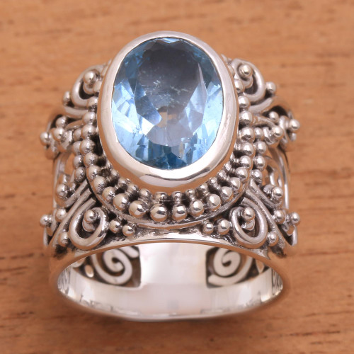 Blue Topaz and Sterling Silver Single Stone Ring from Bali 'Glorious Vines'