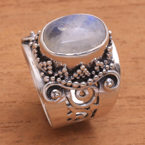 Rainbow Moonstone and Sterling Silver Single Stone Ring 'Glorious Vines'