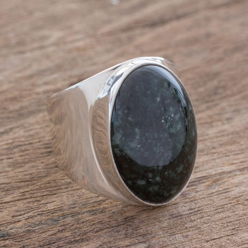 Handmade Men's Dark Green Jade Cocktail Ring from Guatemala 'Truth and Life in Dark Green'