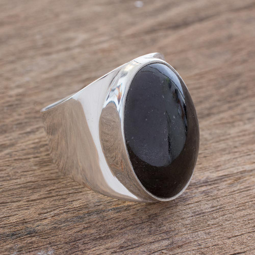 Handmade Black Jade Men's Ring from Guatemala 'Truth and Life in Black'