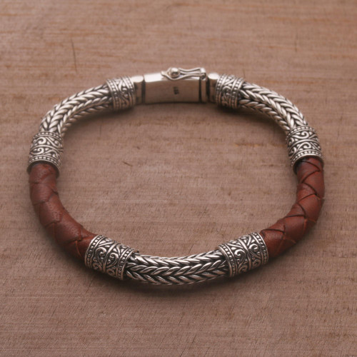 Men's Sterling Silver and Leather Bracelet in Brown 'Royal Weave in Brown'