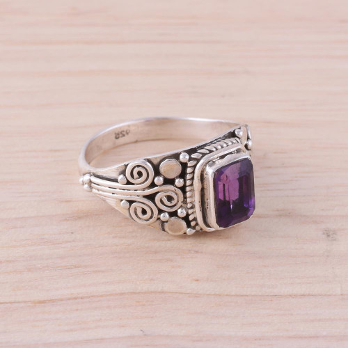 Amethyst and Sterling Silver Single Stone Ring from India 'Royal Luxury'