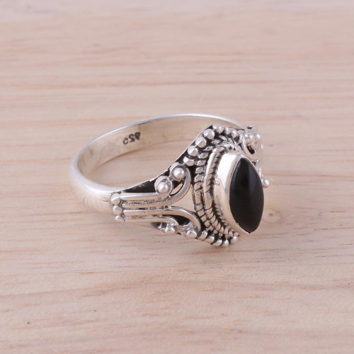 Onyx and Sterling Silver Single Stone Ring from India 'Midnight Luxury'
