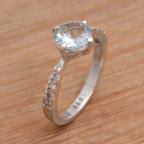 Blue Topaz and Sterling Silver Solitaire Ring from Bali 'Lakeside Sparkle'