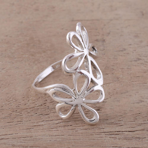 Sterling Silver Floral Cocktail Ring from India 'Twin Floral Beauty'