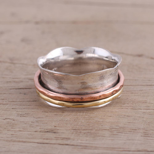 Sterling Silver Copper and Brass Spinner and Meditation Ring 'Wavy Cyclone'