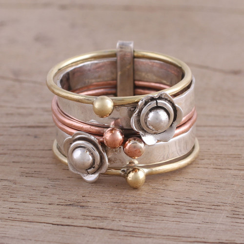 Fair Trade Sterling Silver Copper and Brass Meditation Ring 'Metallic Flowers'