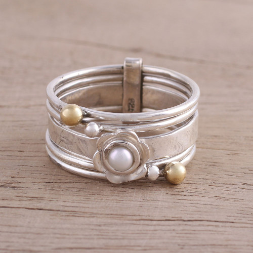 Cultured Pearl and Sterling Silver Meditation Spinner Ring 'Luminous Floral'