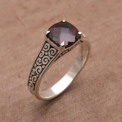 Garnet and Sterling Silver Cocktail Ring from Bali 'Buddha Sparkle'