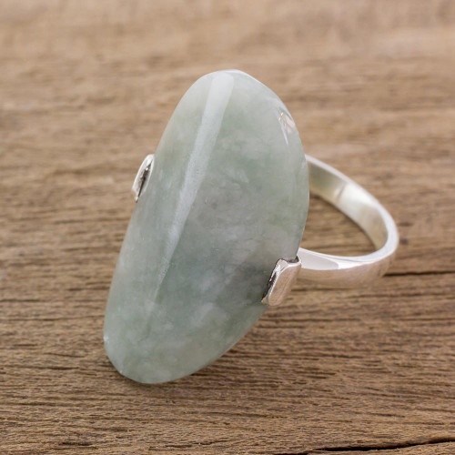 Light Green Jade and Silver Cocktail Ring from Guatemala 'Maya Virtue in Light Green'