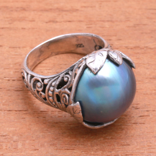 Purple Cultured Pearl Cocktail Ring from Bali 'Moonlight Bloom in Purple'