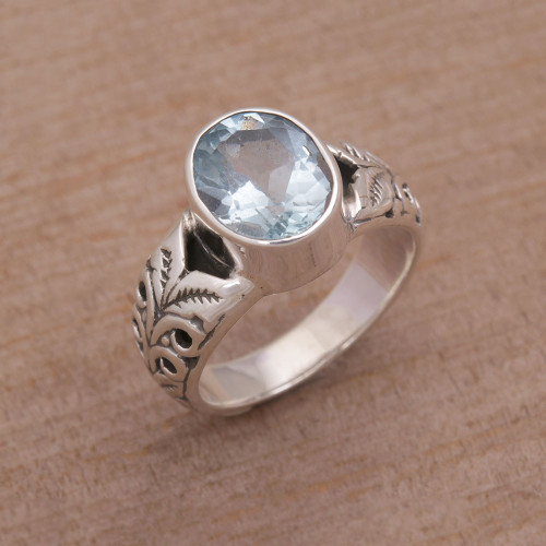 Faceted Oval Blue Topaz Single Stone Ring from Bali 'Grow On'