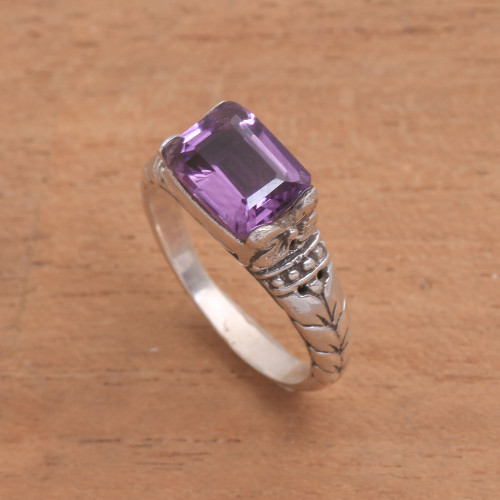 Faceted Purple Amethyst Single Stone Ring from Bali 'Padang Galak Beauty'