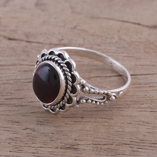 Garnet and Sterling Silver Cocktail Ring from India 'Red Gloss'