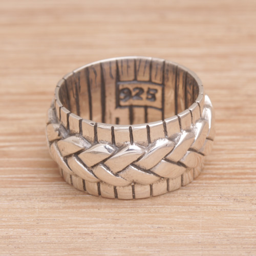 925 Sterling Silver Handmade Woven Motif Band Ring 'Move in Silence'