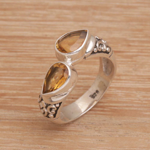 Teardrop Citrine and Silver Cocktail Ring from Bali 'Temple Tears'