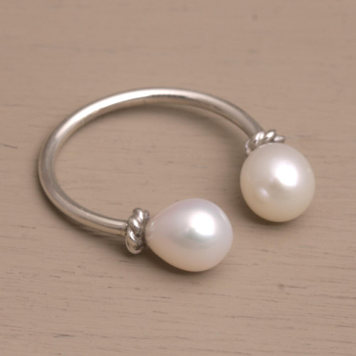Cultured Pearl and Sterling Silver Wrap Ring 'Moonlight's End'