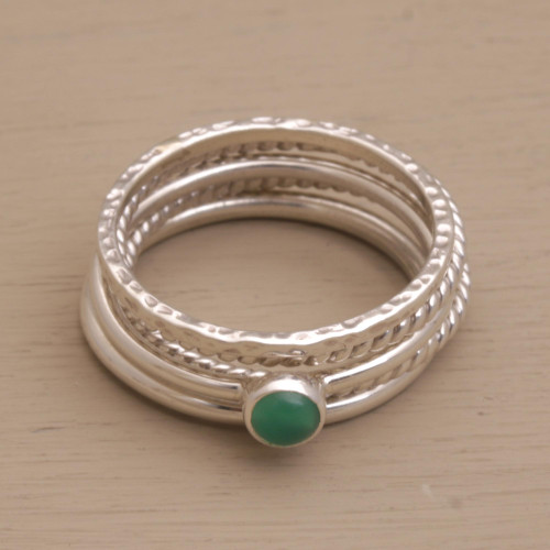 Sterling Silver and Green Agate Stacking Rings Set of 5 'As One'