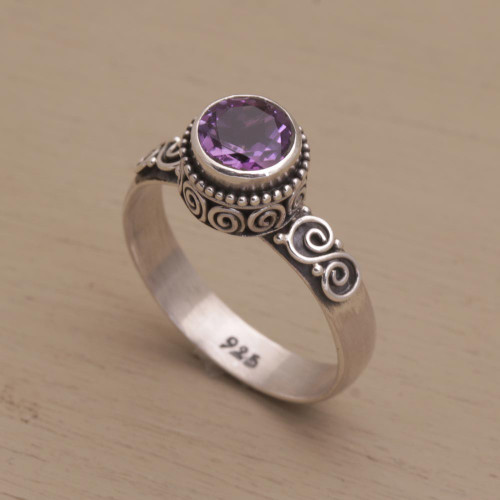 Amethyst Single Stone Ring in Sterling Silver 'Shadow Of The Crown'