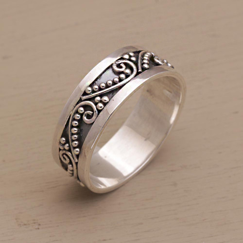 Sterling Silver Band Ring with Dot and Wire Motifs 'Punctuation Marks'