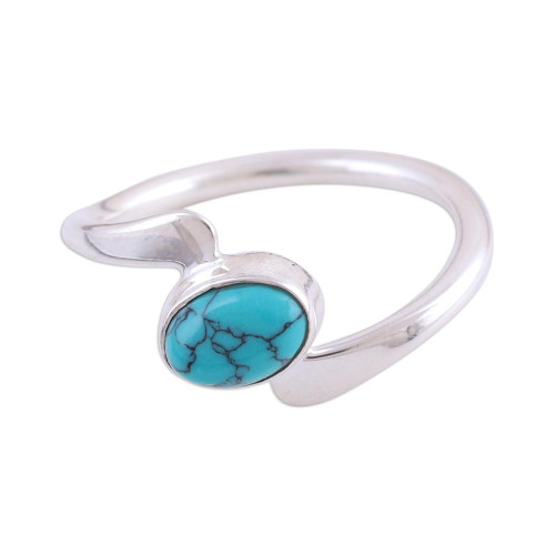 Rhodium Plated Sterling Silver Cocktail Ring from India 'Elliptical Eye'