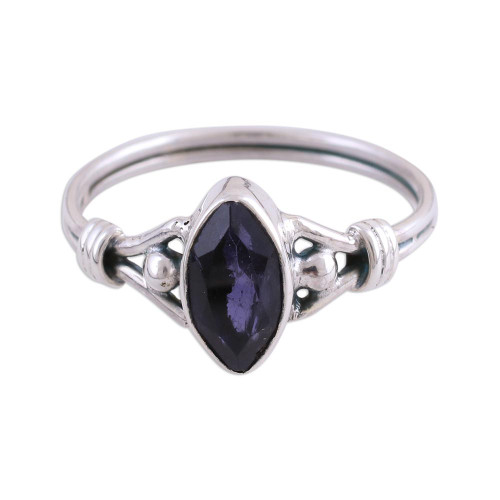 Iolite and Sterling Silver Cocktail Ring from India 'Glorious Marquise'