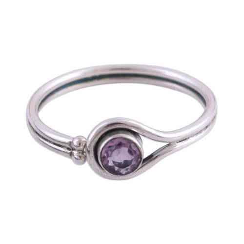 Rhodium Plated Amethyst Cocktail Ring from India 'Lassoed Lilac'