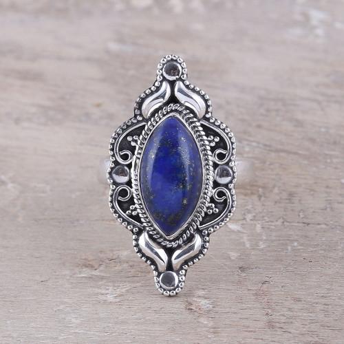 Eye-Shaped Lapis Lazuli Cocktail Ring from India 'Royal Eye'